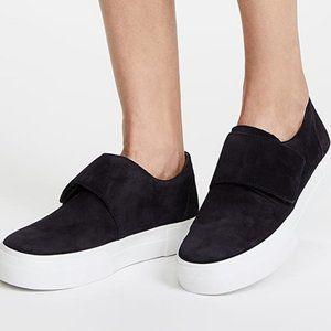 Vince Cage Black Suede Flap Platform Sneakers